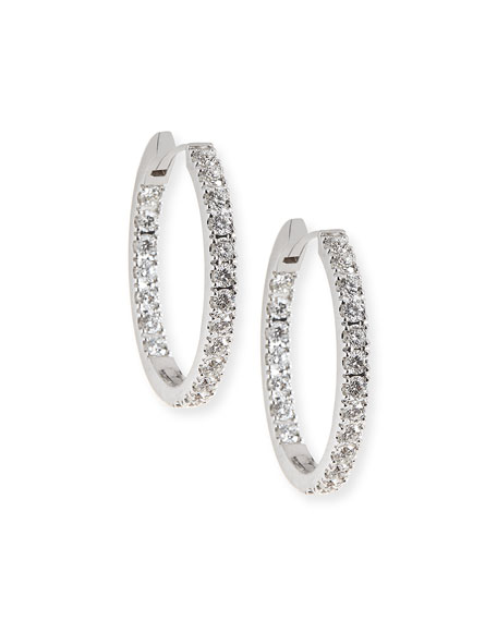 Memoire 18k White Gold Oval Hoop Earrings t42P0
