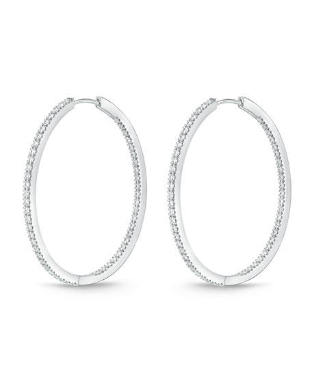 18K White Gold & Diamond Infinity Hoop Earrings, 1.25 tdcw