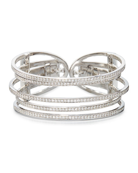 18K White Gold & Diamond Five-Row Cuff Bracelet
