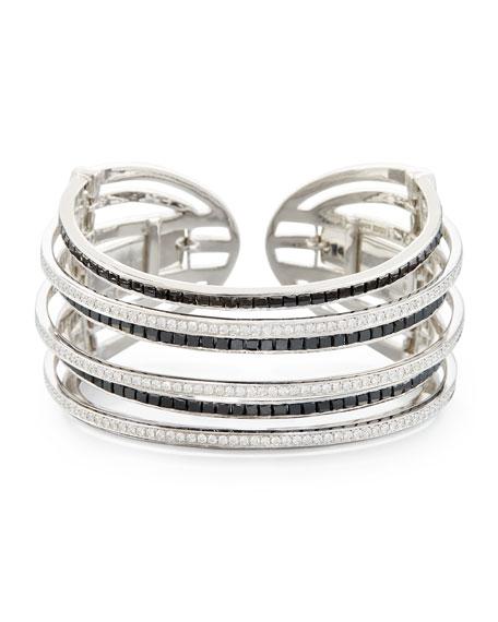 18K White Gold & Black Diamond Seven-Row Cuff Bracelet