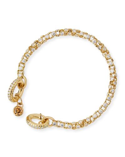 18K Yellow Gold Diamond Bezel Bracelet