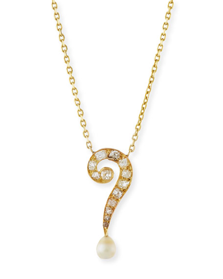Diamond Question Mark Pendant Necklace