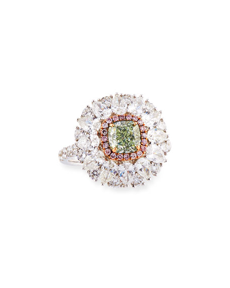 Alexander Laut Light Green Diamond Ring with Pink & White Diamonds, Size 6