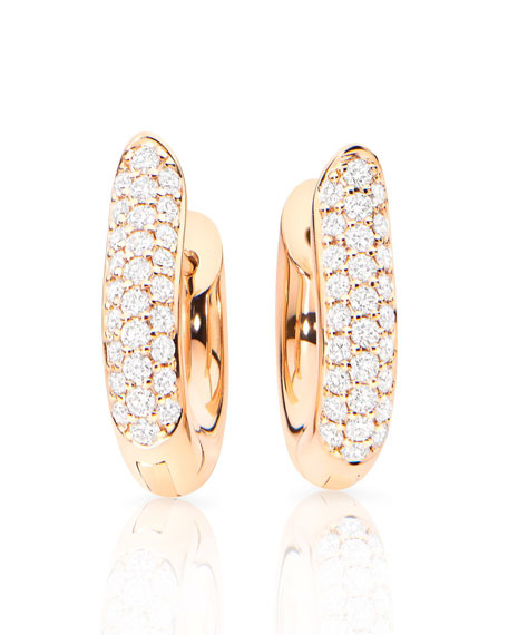 Pavé Diamond Hoop Earrings in 18K Rose Gold