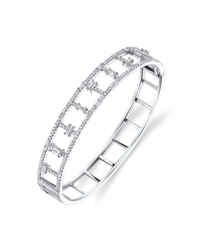 18k White Gold Round & Baguette Diamond Bangle
