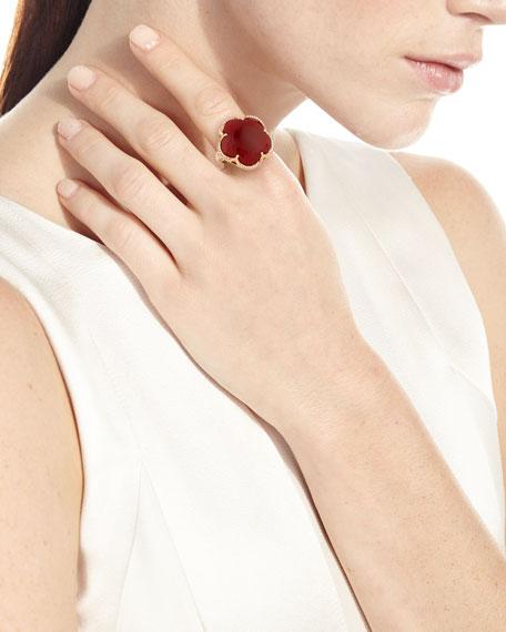 Bon Ton Carnelian Flower Ring with Diamonds in 18K Rose Gold