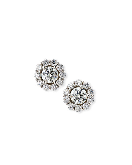 Blossom Diamond Stud Earrings in 18K White Gold, 1.5tdcw