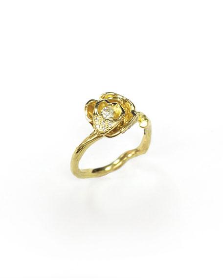 Mimi So Wonderland 18k Diamond Rose Ring, Size 6