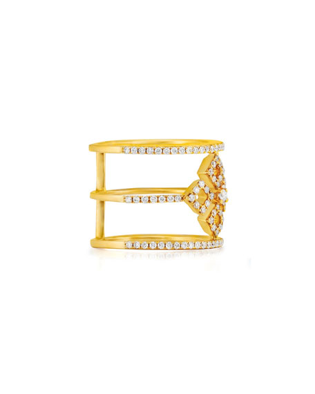 Bessa Three-Row Diamond Illusion Ring in 18K Yellow Gold, Size 7
