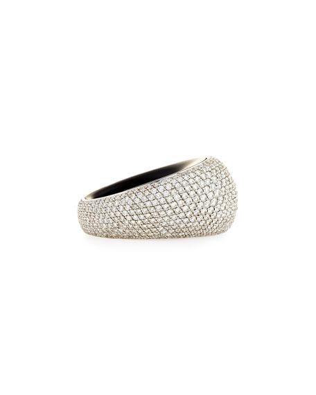 Pirouette 18k White Gold White Diamonds Pave Jet Ring