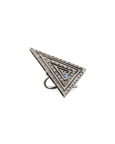 Marco Dal Maso 18K Black Gold Triangle Ring with Diamonds & Blue Corundum, Size 7