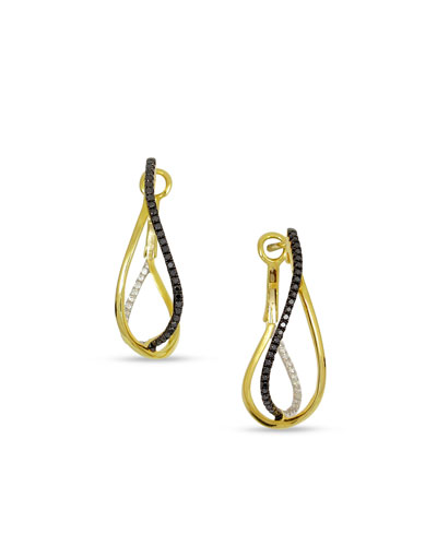 18K Yellow Gold Crossover Earrings with Black & White Diamonds