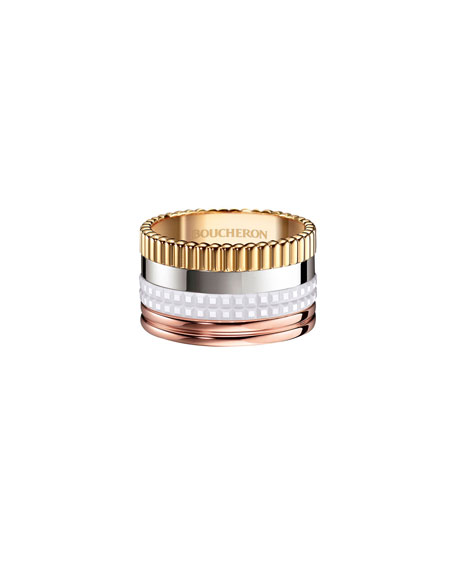 Boucheron QUATRE LARGE 18K GOLD & WHITE CERAMIC RING