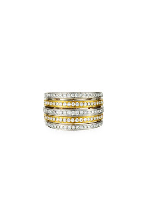 Frederic Sage Two-Tone 18k Diamond Grand Lines Ring, Size 7