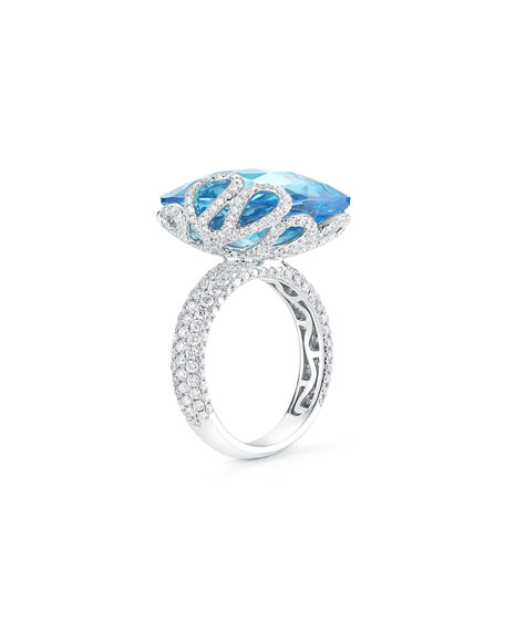 Miseno 18k White Gold Sea Leaf Topaz/Diamond Ring, Size 5