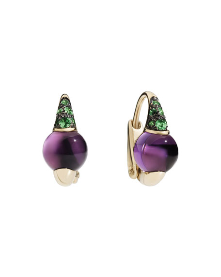 18k M'ama Non M'ama Huggie Earrings w/ Amethyst & Tsavorite