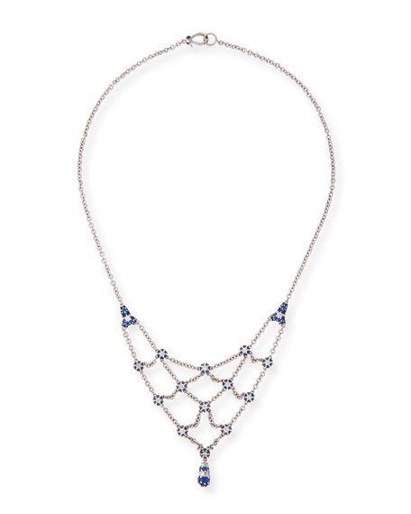 Small Pipette Necklace with Diamonds & Blue Sapphires