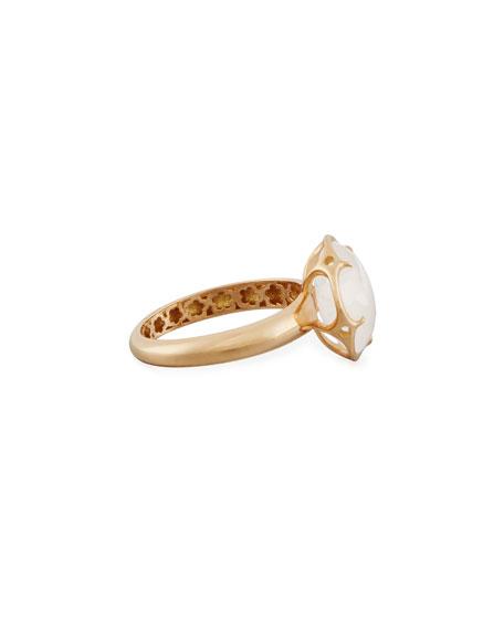 Bon Ton Milky Quartz Flower Ring in 18K Rose Gold