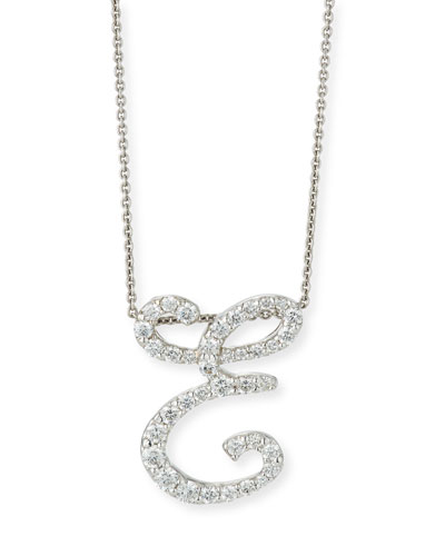18k White Gold Diamond Pave Large Script Initial E Necklace