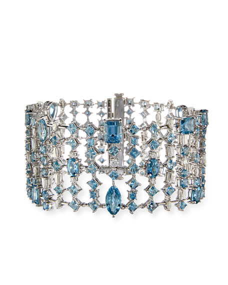 Alexander Laut Fancy-Cut Aquamarine & Diamond Cuff Bracelet