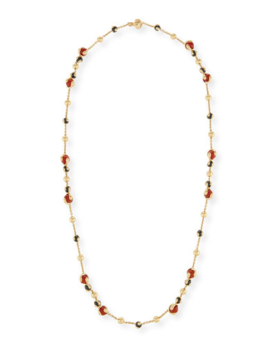 Cardan Agate & Spinel Station Necklace in 18K Gold, 36