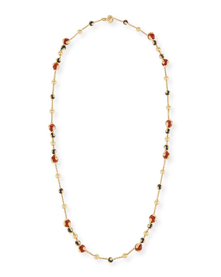Cardan Agate & Spinel Station Necklace in 18K Gold, 36""