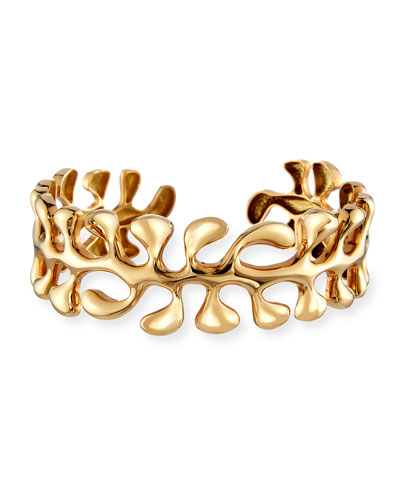 Sea Leaf Bangle Bracelet in 18K Gold