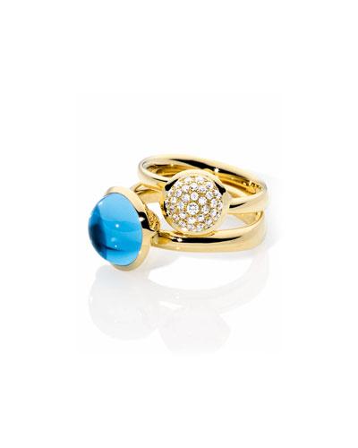 Large Bouton Swiss Blue Topaz Cabochon Ring, Size 7/54