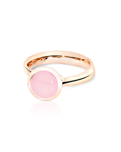 Bouton 18k Rose Gold Pink Chalcedony Ring, Size 7/54