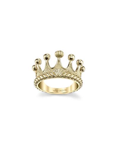 18k Gold Princess Tiara Ring  Size 6.75