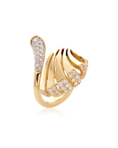 Ventaglio 18k Gold Diamond Fan Ring  Size 6