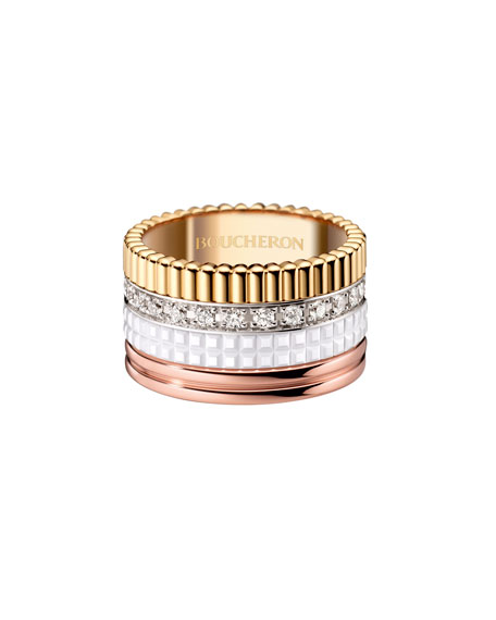 Boucheron Quatre Large 18K Gold & White Ceramic Ring with Diamonds, Size 56