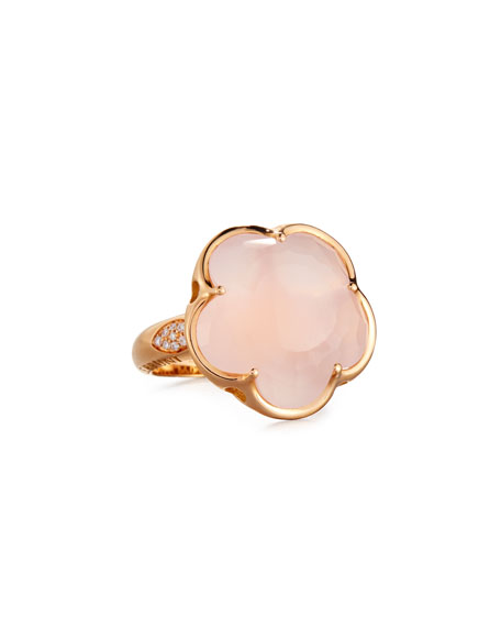 18K Rose Quartz & Diamond Flower Ring, Size 7