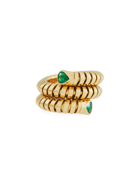 Trisola 18k Yellow Gold Emerald Coil Ring