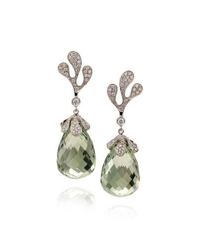 Sea Leaf 18k White Gold Diamond & Green Amethyst Earrings