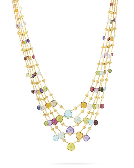Marco Bicego Paradise Five-Strand Mixed-Stone Necklace, 16.5""