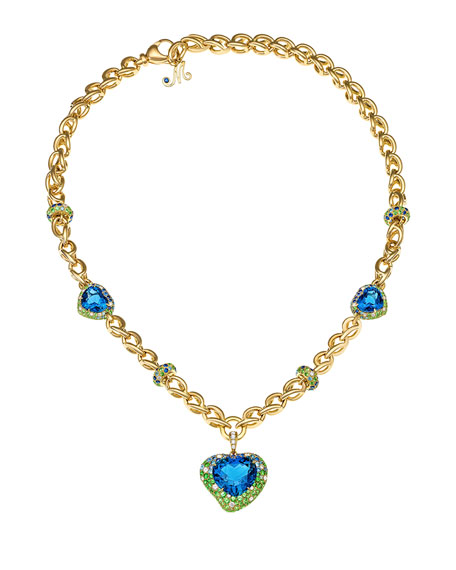 Margot McKinney Jewelry Hearts Desire Topaz & Sapphire Necklace with Diamonds in 18K Gold