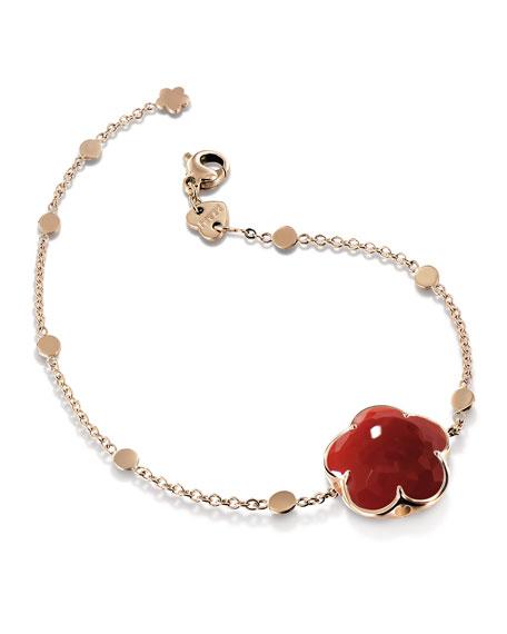 Bon Ton Carnelian Flower Bracelet in 18K Rose Gold