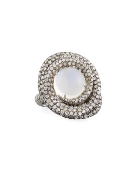 Margot McKinney Jewelry 18k White Gold Moonstone & Diamond Wrapped Ring