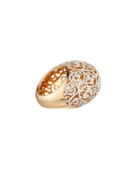 Arabesque Pavé Diamond Dome Ring in 18K Gold