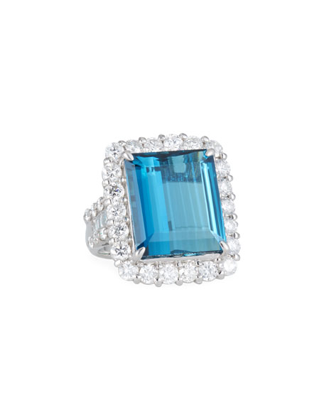 Alexander Laut Platinum Blue Tourmaline & Diamond Ring, Size 6.5