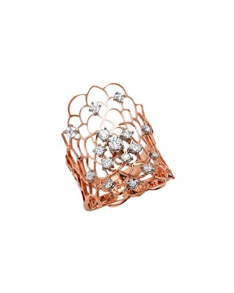 Staurino Moresca 18k Rose Gold & Diamond Ring, Size 7.5