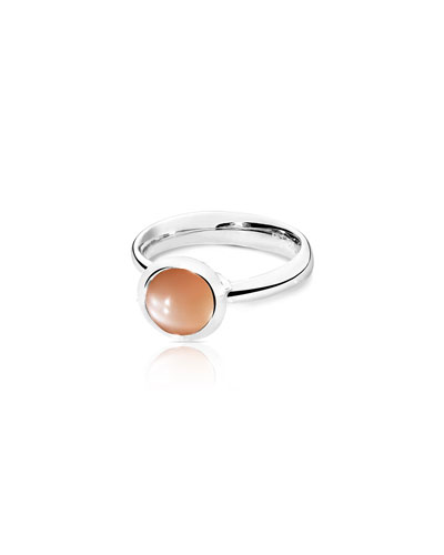Small Bouton Brown Moonstone Cabochon Ring, Size 7/54
