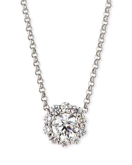 Blossom Diamond Pendant Necklace in 18K White Gold, 0.75 tdcw