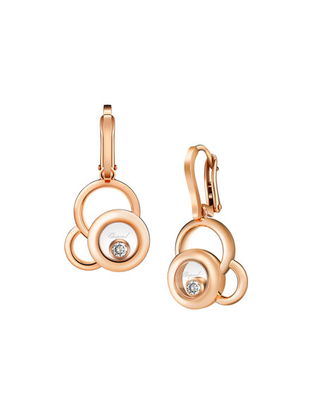Chopard Happy Diamonds 18k Rose Gold Superimposed Circle Drop Earrings