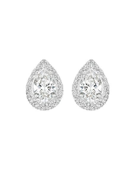 Eclat Jewels 18k White Gold Pear-Shaped Diamond Earrings
