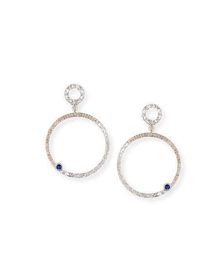 Champagne Diamond Open Hoop Earrings