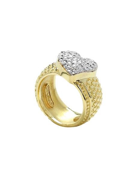 Stambolian 18k Gold Diamond Heart Ring, Size 7.5