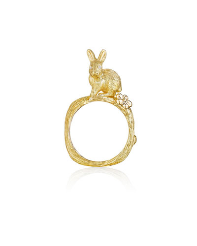 Wonderland 18k Bunny & Orchid Ring  Size 7
