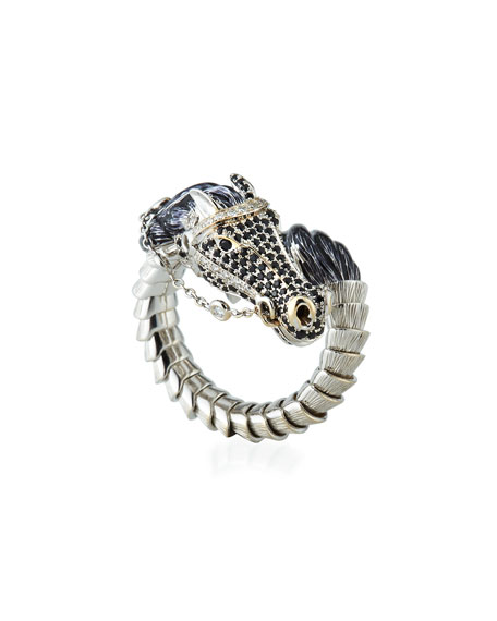 18k Coiled Diamond & Sapphire Horse Ring, Size 6.5